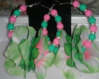 Pink and Green Luau flower hoop earrings