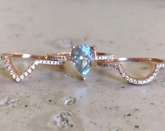 Pear Shape Aquamarine Engagement Ring Set with 2 Matching Bands-Rose Gold Aquamarine with Diamond Bridal Set-Genuine Natural Aquamarine Ring