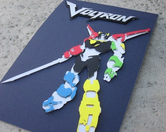 Voltron inspired 11 x 17 inch 3D Cut Out Silhouette print / poster art (limited edition)