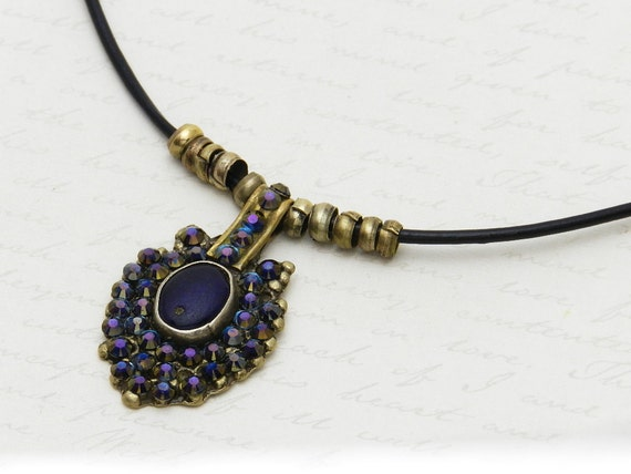 Vintage Kuchi Necklace with original dark glass centerpiece - embellished with sparkly dark blue Swarovski crystals