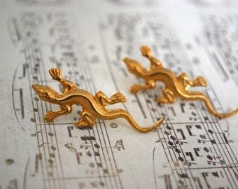 Lizard Earrings -- Lizard Studs, Gold Lizard Earrings