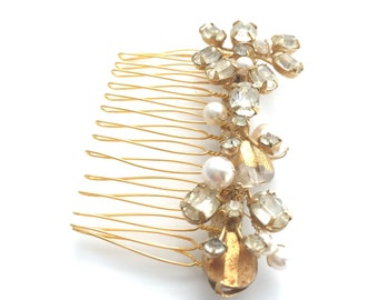 Golden Pearl and Crystal Vintage Bridal Comb