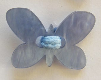1 Pearl Butterfly (Chocolate Blue charcoal plum) hair girl