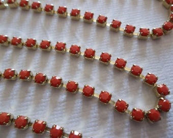 3mm Coral Red Rhinestone Chain - Brass Setting - Maxima Czech Crystals
