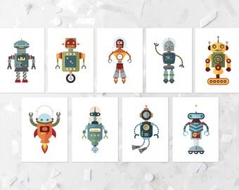 Robot Printable Set Nursery Robot Prints Robot Wall Art Robot Set Sci-Fi Nursery Decor Colorful Nursery Art Playroom Decor Boy Nursery