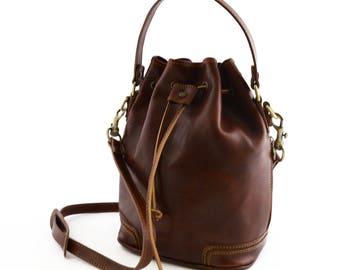 Leather Bucket Shape Handbag