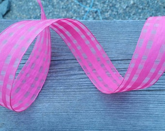 Pink Wire Edged Ribbon with Pink Accent Edging - 3 yards - Christmas Valentines Holiday Ribbon - Wedding Bridal Accessories Decorations