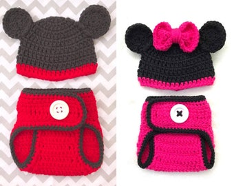 Mickey Mouse Minnie Mouse baby diaper cover and hat set, crochet beanie and diaper cover set, newborn photo props, baby showe