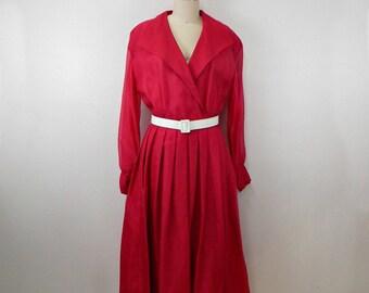 Vintage Fuchsia Silk Dress...80s Does 50s...Shirtwaist Dress with Pleated Skirt ... Sheer Sleeves