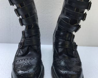 Vintage 1990s Doc Marten Boots. Black Leather, Chunky Heels, Five Buckles at Front. Brogue Perforated Detailing . UK Size 4, US size 6.