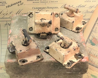Set of 4 Antique Cabinet/Window T-Handle Latches Shabby Chic