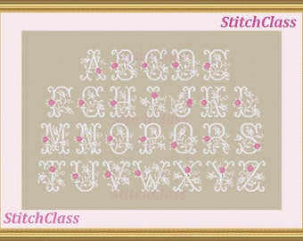 Wedding Alphabet with rose buds Cross Stitch pattern PDF.Letters A-Z for initial Floral font monograms rosebuds flowers crossstitch patterns