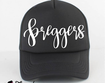 PREGGERS Adult trucker hat, Trucker Hat, mom life Hat, Black Hats & Caps, Black and white Mom Hat, new mom gift, baby shower gift