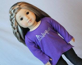 18 Inch Doll Shirt, Wizard Doll Shirt, Magic Doll Clothes, Long Sleeve Doll Shirt, fit American Girl Doll, Geeky Doll Clothes, Wizard Doll