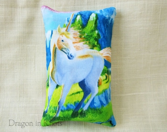 Unicorn Pocket Tissue Case - To-go Facial Tissue Holder, fantasy animal, fairy tale creature, accessory for purse or backpack, white on blue