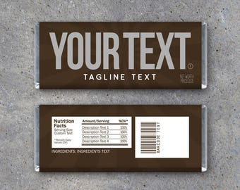Custom Text Candy Bar Wrappers – Printable download with your text – Great Gag Gift – Birthday, Anniversary, Funny Party Favors