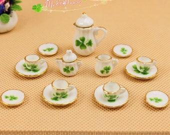 "1/12 Dollhouse Miniatures Tea Coffee Set Pot Cup Doll House Porcelain Set; Green Leaf; Pot H: 1 1/3"""