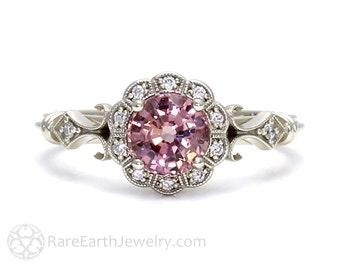 Art Deco Ring Pink Spinel Ring Vintage Engagement Ring Milgrain Diamond Halo Ring in 14K or 18K Gold Pink Gemstone Ring