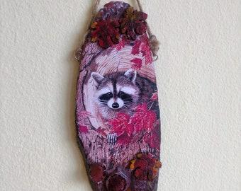 Hand Made Wall Art Decoupage Wood Wall Hanging Raccoon, Birds and Trees