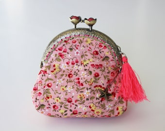 Retro purse pink, flower collection