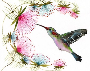 Hummingbird, tiny bird art print, birds watercolor art, size 7x5 (No.29c)