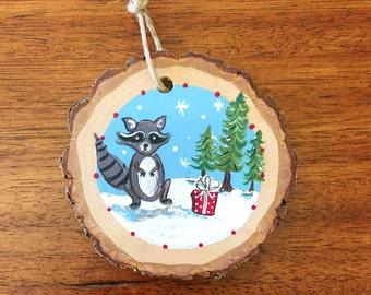 Raccoon | Hand Painted Wood Slice Ornament
