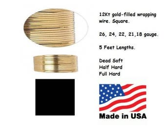 12kt Gold Filled Square Wrapping Wire Dead Soft Half Full Hard 18 20 21 22 24 26 gauge