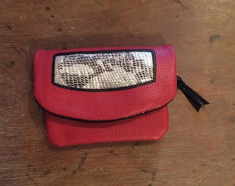 Red Leather Clutch Purse
