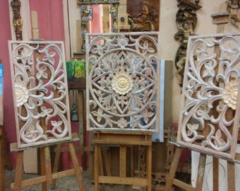 Triptych Headboard with Floral Patterns