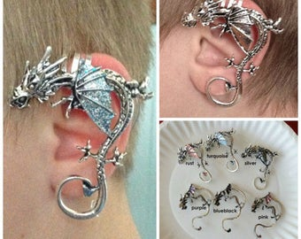 DRAGON EAR CUFF for Non-Pierced Left or Right Ear inspired by Game of Thrones, Supernatural Ear Cuff, Fairy Ear Cuff,Custom Dragon Cuff Gift