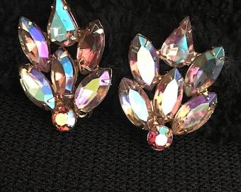 Garne AB Rhinestone Clip Earrings-Garne NY 1950's