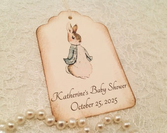 Peter Rabbit Thank You Favor Tags-Personalized Birthday and Baby Shower Favor Wish Tags-Set of 12