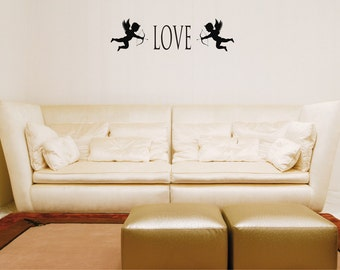 Love with Cupid accents wall decal removable sticker