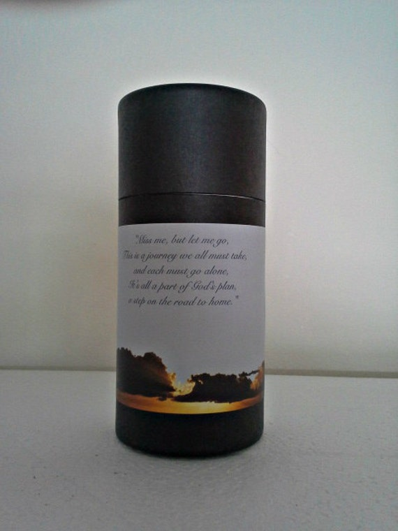 """Black Eco-Friendly Cremation Urn Scattering Tube w/Telescopic Lid - Biodegradable - Style """"Heavenly"""""""