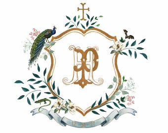 Custom Watercolor Crest Monogram