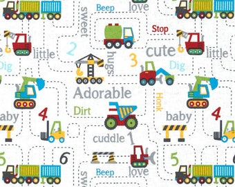 Under Construction Adorable Love Hug Truck Quilt Cotton Fabric By the yard / Half Yard