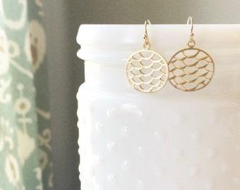 ARIEL | Mermaid Earrings Gold | Fish Scale Earrings Gold | Gold Mermaid Earrings | Dangle Earrings | Bridesmaid Earrings | Fish Scale