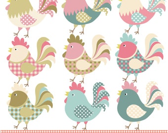 Colorful patterned chickens digital clipart