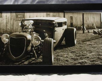 "Framed 12x36 inch (large) panoramic poster of old farm scene with a Ford ""rat rod"" in a chicken coop!"
