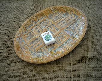 Mahjong Gift - Mahjong Dish - Oriental Plate - Mahjongg Snack Dish - Oriental Dish - Mahjong Plate - Mahjongg Gift - Mahjong Pottery