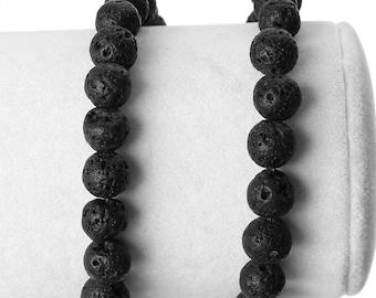 50 Black Natural Lava Rock Beads, 8mm (1S-37)
