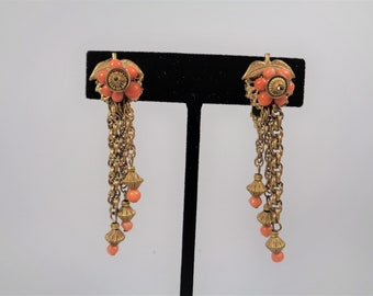 Vintage Miriam Haskell Coral Bead Gold Dangle Earrings