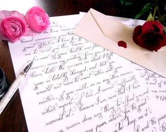 """Custom calligraphy love letter, handwritten, calligraphy hand lettered wedding vows - Wedding vows calligraphy 9.7""""x13.6"""""""