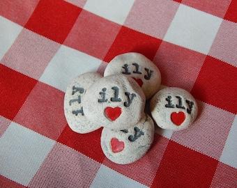 ily Handmade Ceramic Message Stones, Set of 5, Ceramic Rocks, Valentine Memento