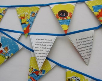 Vintage book bunting - Andy Pandy (jack in the box)