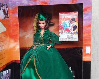 1994 Scarlett O'Hara Barbie Doll NRFB Gone With The Wind Green Velvet Drapery Gown Dress Hollywood Legends Collection Mattel Collector Gift