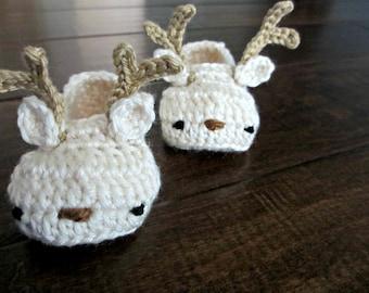 Reindeer Baby Shoes - Crochet Baby Booties - Christmas Winter Baby Shoes - knit slippers - crochet baby toddler gifts