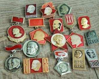 Lot of 16 vintage Soviet pins and medals with Lenin / Soviet propaganda / communism / СССР / Советский Союз