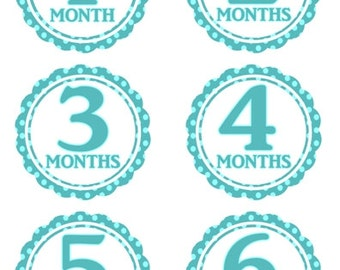 Instant Download - Baby Month to Month Stickers, Monthly Birthday Stickers for Baby, Photo Prop Birthday Stickers, Blue Polka Dots