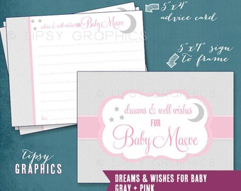 Moon & Stars. Dreams and Well Wishes for Baby.  Printable Cards. Pink Gray. Any colors by Tipsy Graphics